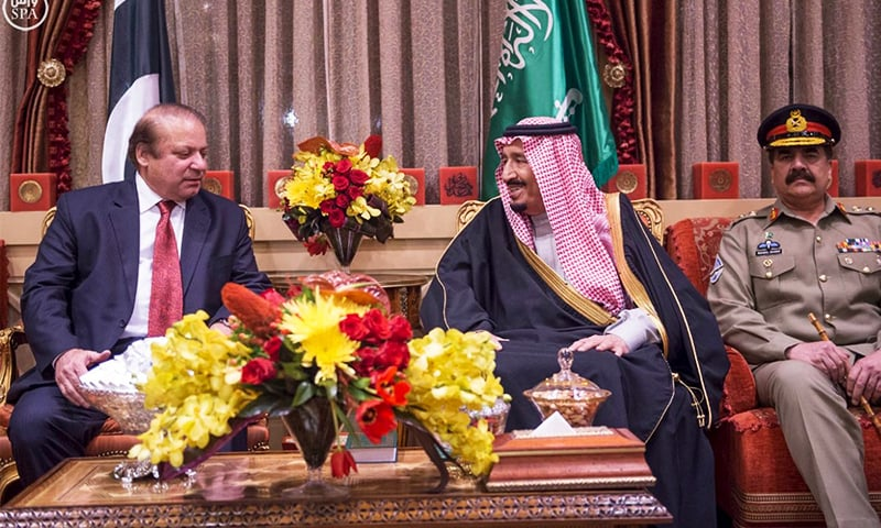 Prime Minister Nawaz Sharif and Army Chief Gen Raheel Sharif pictured during a meeting with Saudi King Salman bin Abdulaziz in Riyadh on Monday.—Reuters