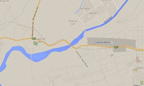 Map shows the area outside Peshawar where the blast occurred.—Google maps