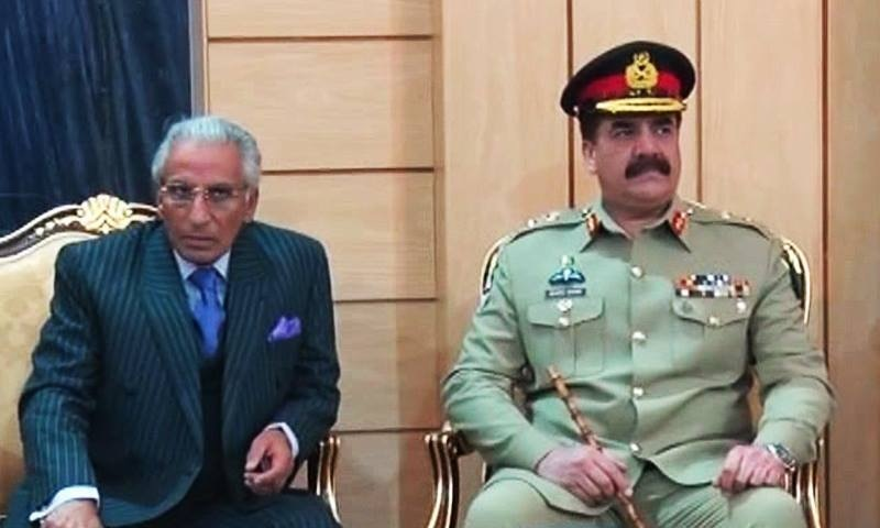 Special Assistant to Prime Minister on Foreign Affairs Tariq Fatemi and Army Chief General Raheel Sharif. -DawnNews