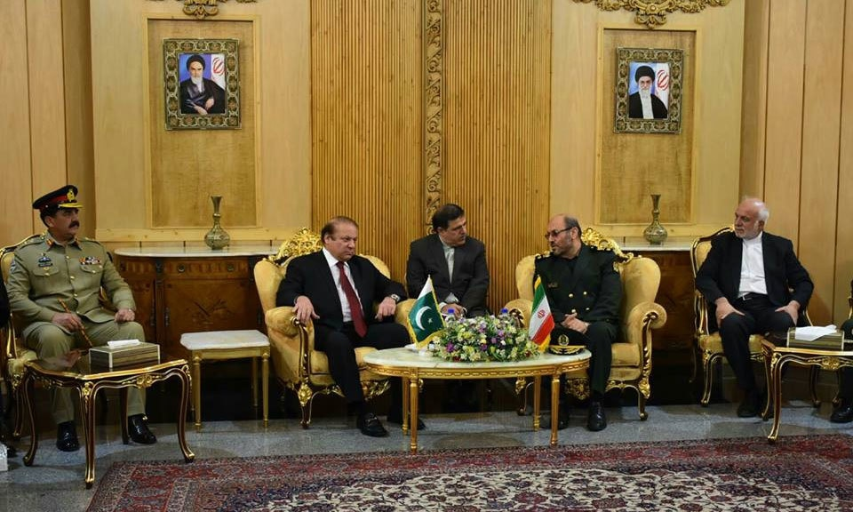 Prime Minister Nawaz Sharif and COAS Raheel Sharif holding talks with Iranian defence minister Hossein Dehghan.─ Photo: PMO