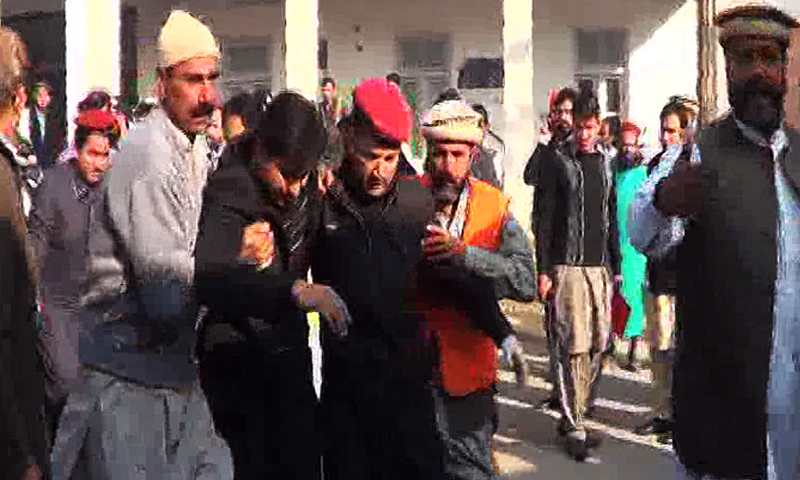 A wounded person is being rescued from the Bacha Khan University.— Dawnnews