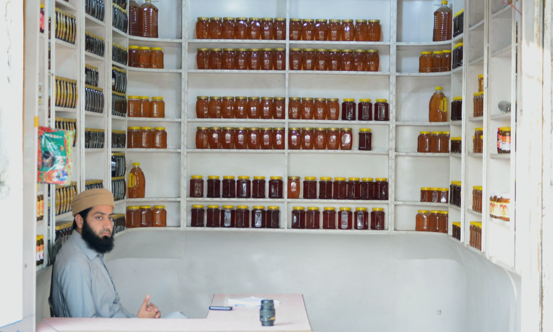 A honey kiosk at Peshawar's Tarnab market. — Photo by author