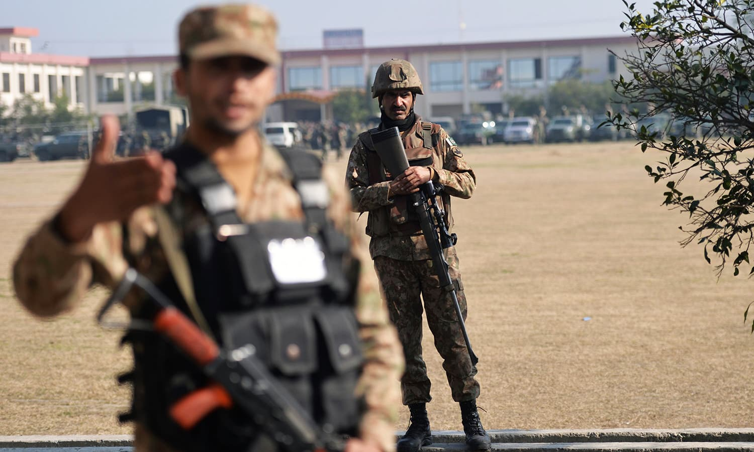 Pakistani soldiers cordon off the site at Bacha Khan university following an attack by militants in Charsadda. -AFP