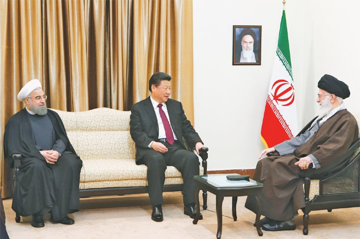 TEHRAN: Chinese President Xi Jinping meets Iran's Supreme Leader Ayatollah Ali Khamenei (right) and President Hassan Rouhani on Saturday.—AP