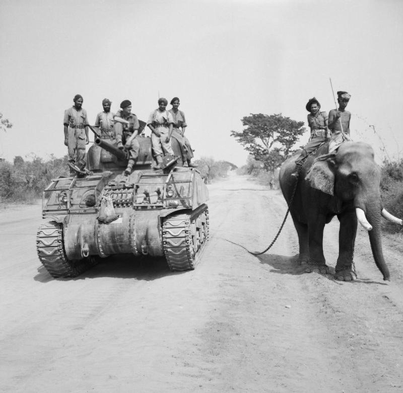 The British commander and Indian crew of a Sherman tank of the 9th Royal Deccan Horse, 255th Indian Tank Brigade pass by an elephant on the road to Meiktila, Burma, in 1945.	— Imperial War Museum's collection via  Wikimedia Commons