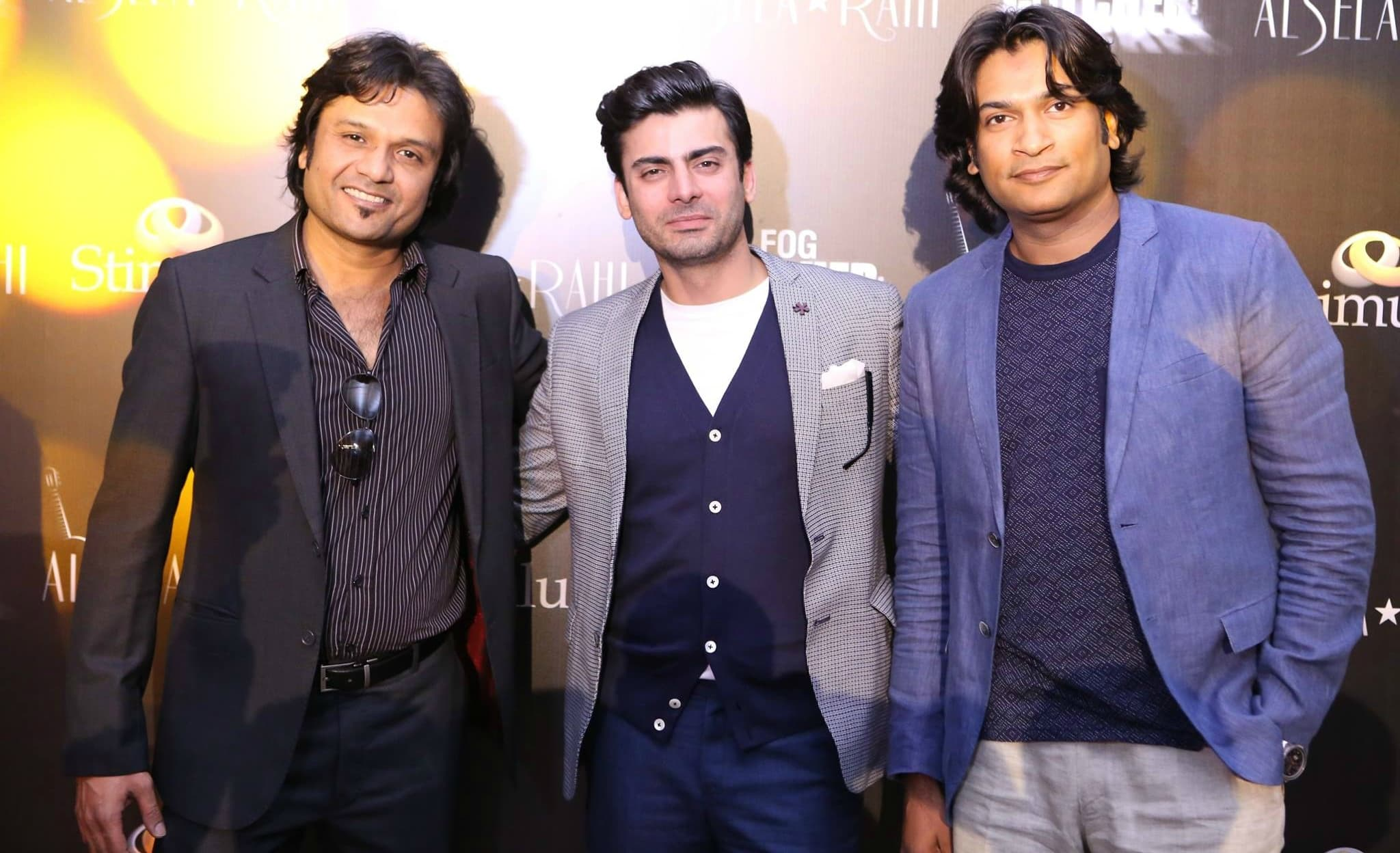 Fawad Khan with Fog Catcher Films' Sultan Ghani Afzal and Faisal Hashmi at the film's announcement – Photo courtesy Albela Rahi's Facebook page