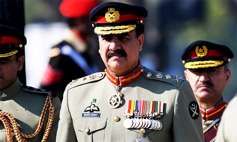 Gen Raheel Sharif at the change of command ceremony in 2013. ─ AFP/File