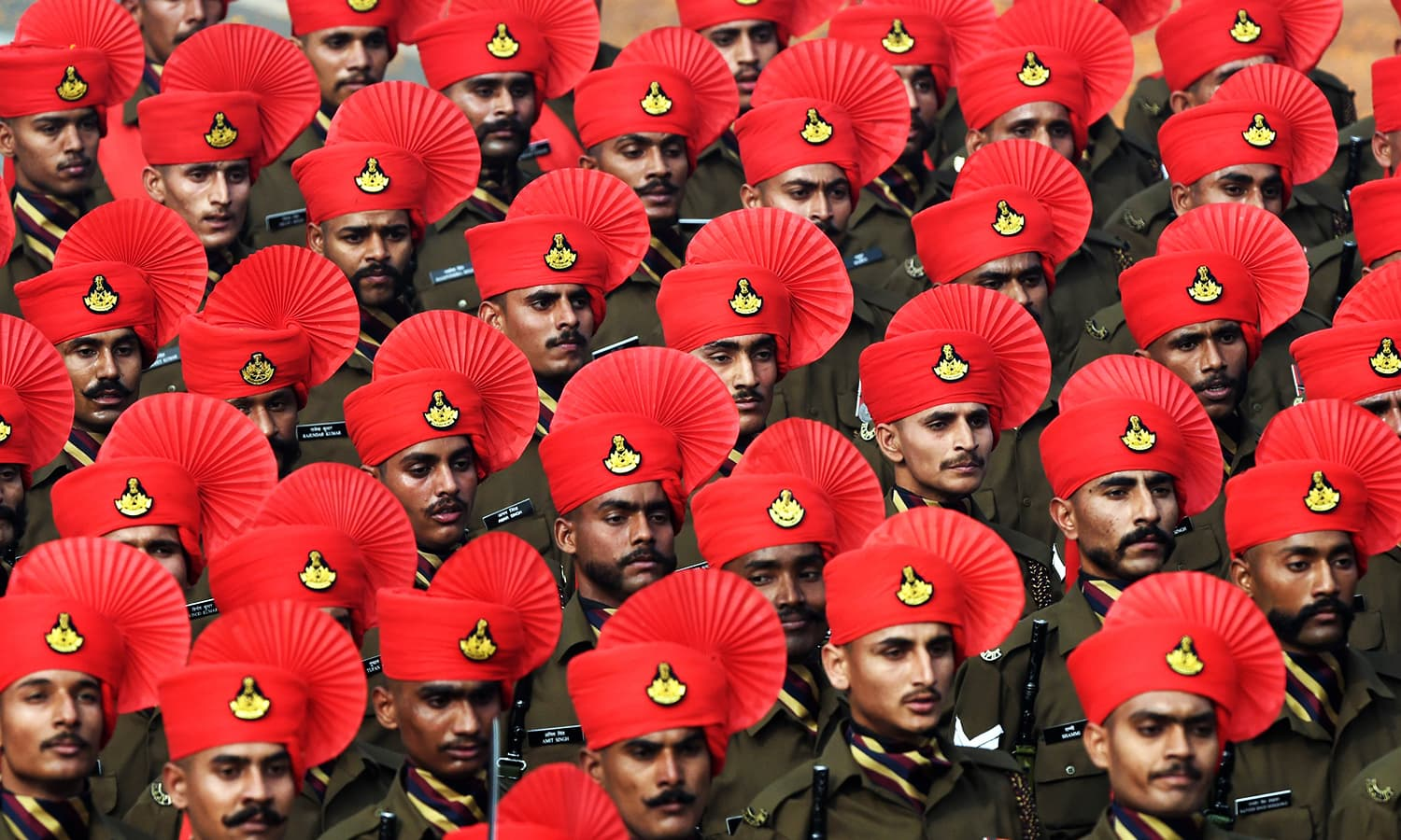 Members of the Rajput Regiment participate in India's Republic Day parade. ─ AFP