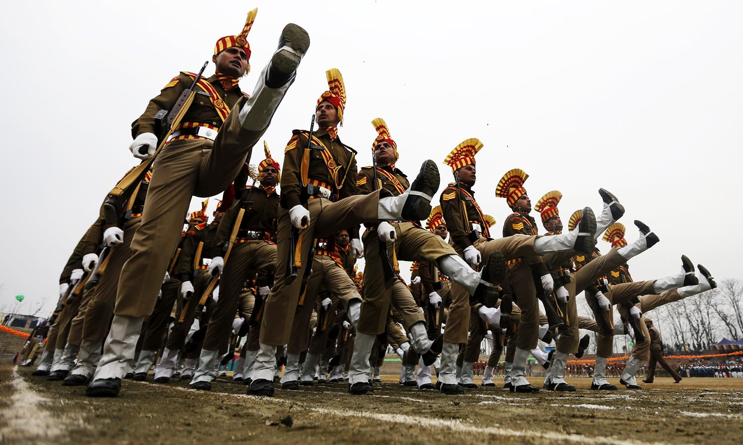 India's Border Security Force (BSF) soldiers march during India's Republic Day parade in Srinagar. ─ Reuters