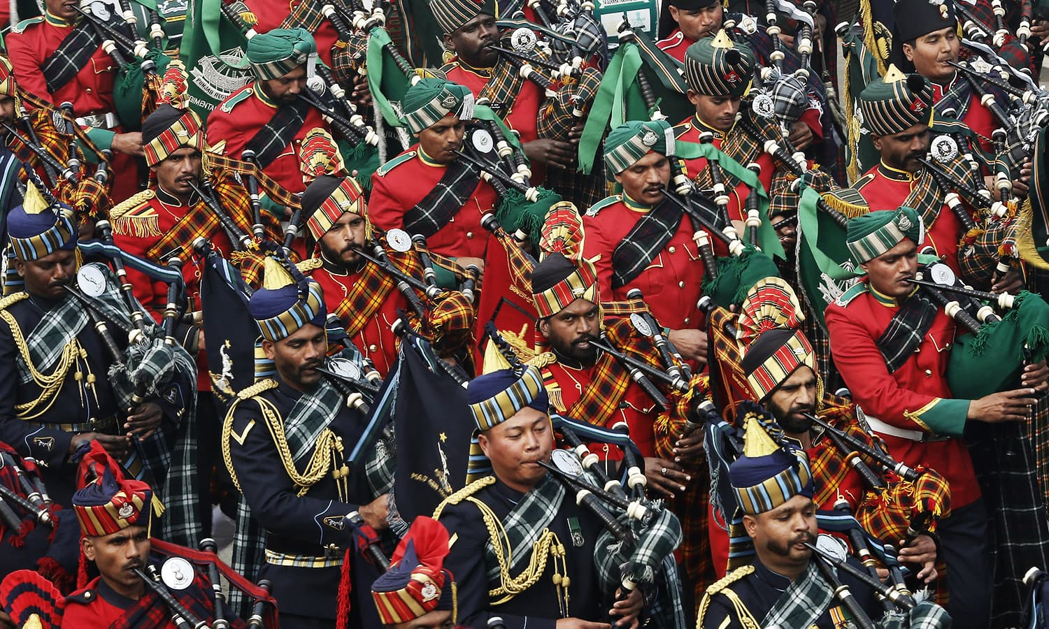 Members of the Indian military band take part in the Republic Day parade. ─ Reuters