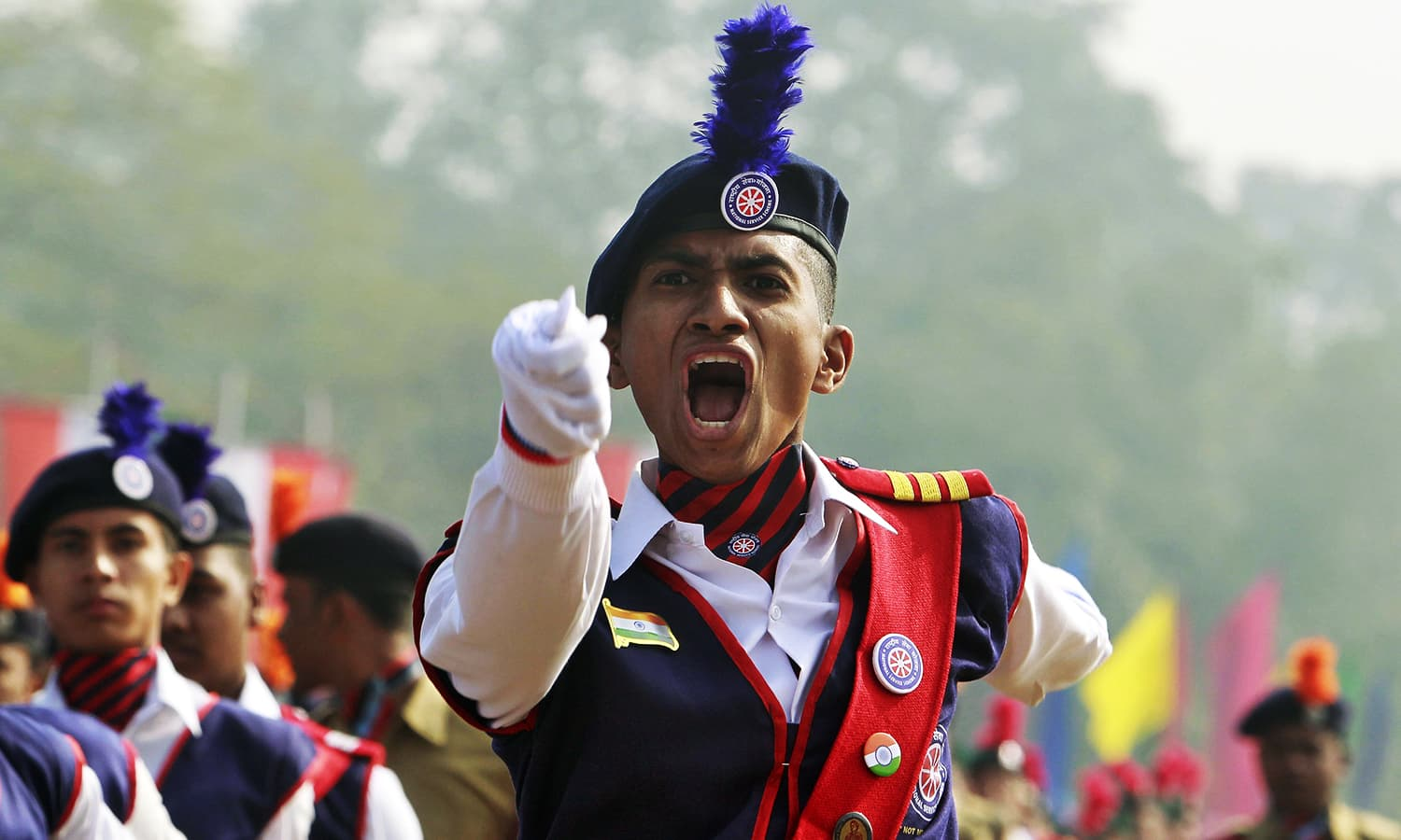 A member of National Service Scheme shouts commands as he takes part in the Republic Day parade in Agartala, India. ─ Reuters