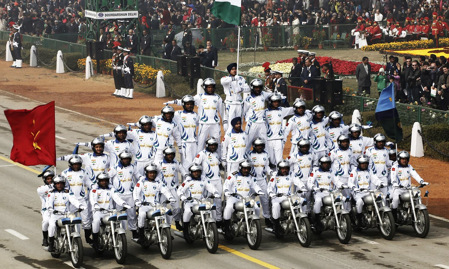 "India's Border Security Force (BSF) ""Daredevils"" motorcycle riders take part in the Republic Day parade. ─ Reuters"