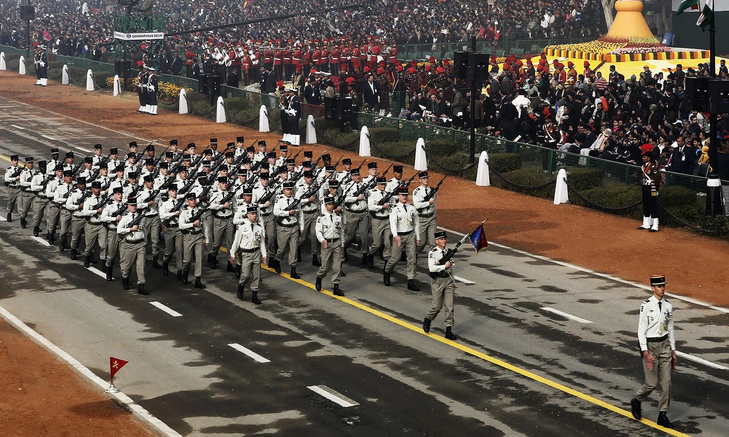 French soldiers march during India's Republic Day parade. ─ Reuters