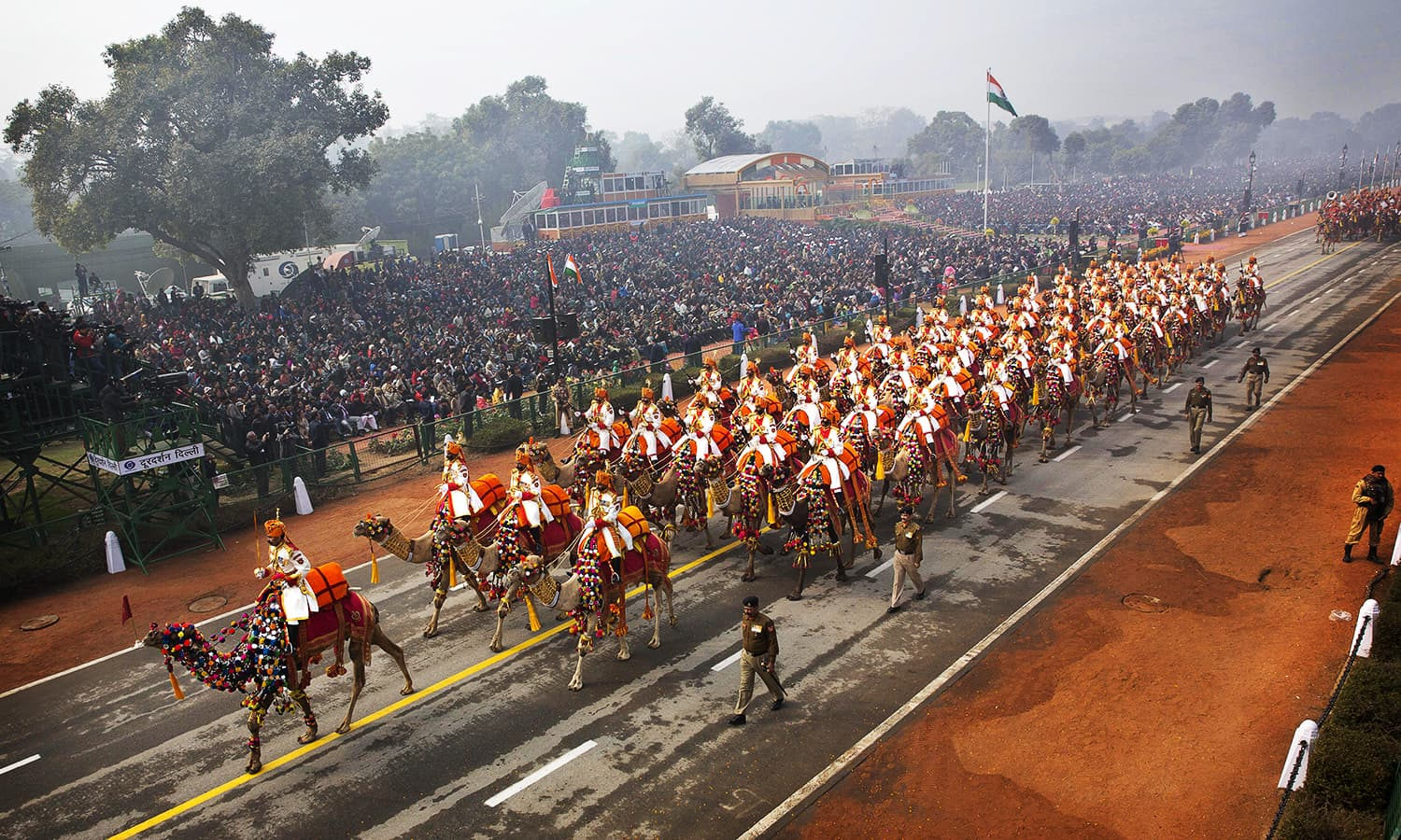 A contingent of camel mounted soldiers of Indian Border Security Force (BSF), march down Rajpath during the Republic Day parade. ─ AP