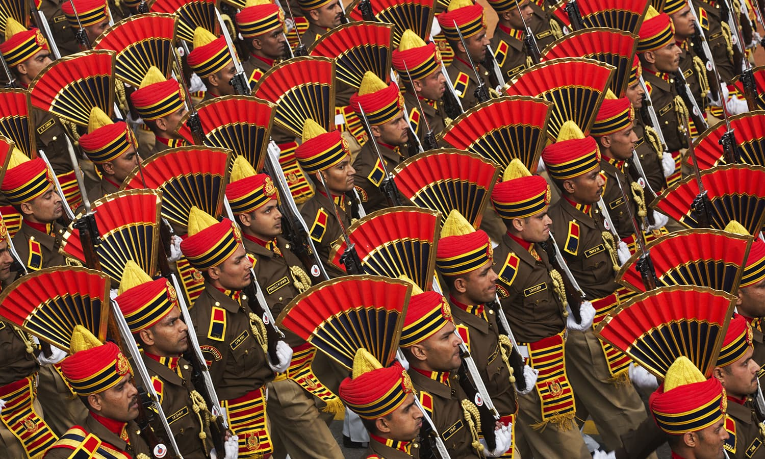 Indian security forces march during the Republic Day parade. ─ AP