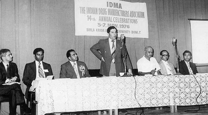 Yusuf Hamied addressing the Indian Drug Manufacturers Association, 1976.