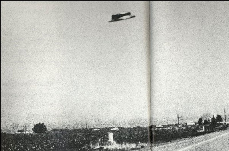 One of the photographs showing an unidentified flying object in the skies over the Pakistan-India border.