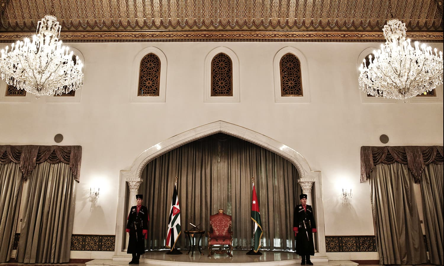 Circassian guards stand attention in Raghadan Palace. ─ AP
