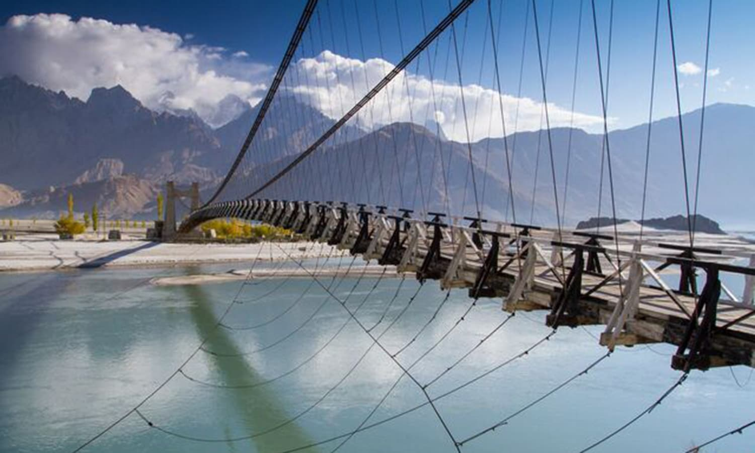 A suspension bridge connecting the Khaplu and Shyok valleys. —Photo by Ghulam Rasool