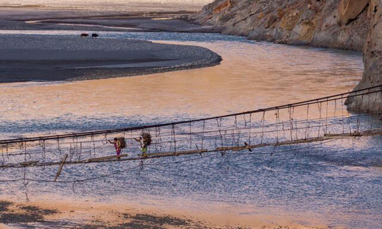 The hanging bridge of Hussaini. —Photo by Ghulam Rasool