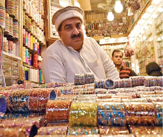 Malik Naseer sells bangles in Moti Bazaar and is worried by about women pickpockets operating in the area, because it drives customers away.