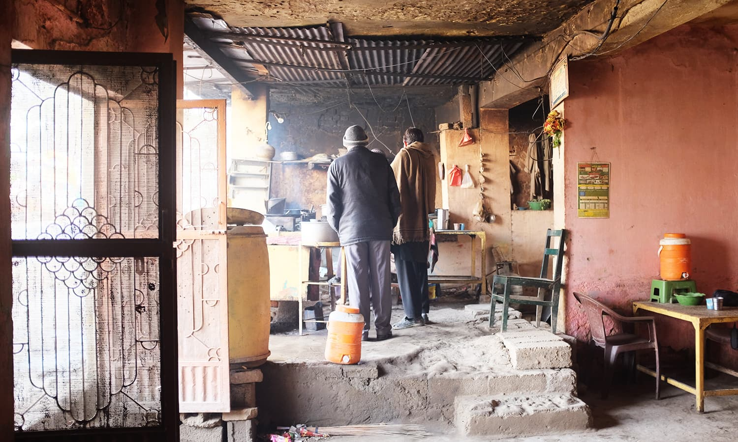 We stop at a rundown dhaba for breakfast.