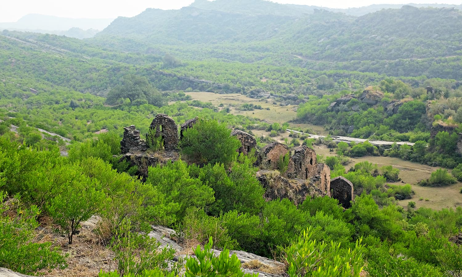 The wall on the Eastern side stands tall in a picturesque setting.
