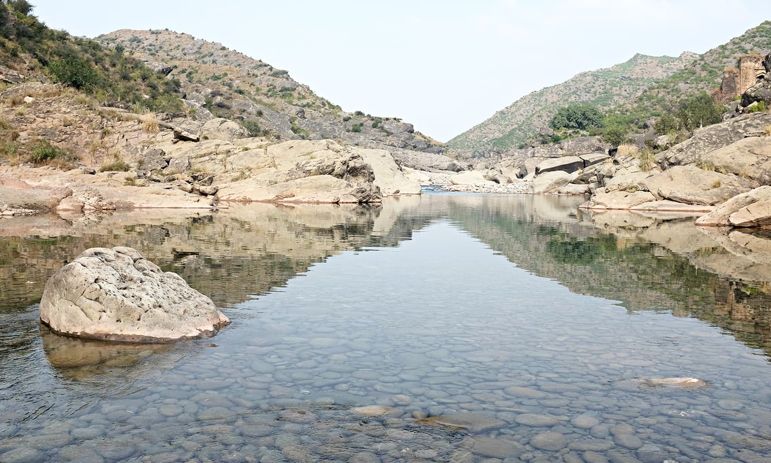 A stream below in the ravine.