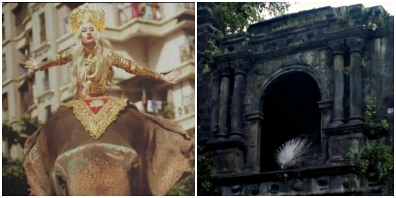 Behold Iggy on an elephant; white peacock chills on cool temple window - Screenshot from Iggy Azalea's Bounce (L) and Coldplay's Hymn for the Weekend (R)