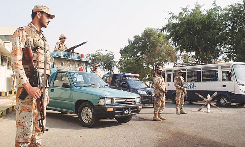 KARACHI: Rangers personnel were deployed outside the Jinnah International to avert any untoward incident as PIA employees continue their protest against the government's reported move to privatise the national flag carrier.—Online