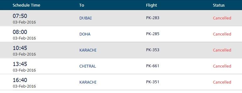 PIA flight operations at Bacha Khan International Airport, Peshawar, from 7.50am-4.40pm.—peshawarairport.com.pk