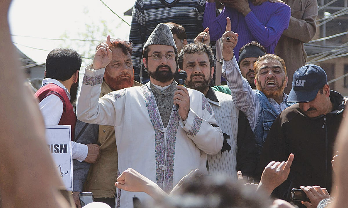 Kashmiri leader Mirwaiz Umar Farooq during a protest in Srinagar | Dar Yasin, AP