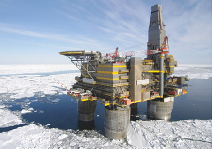 Russian offshore oil rig. Climate change is making the Arctic more accessible to oil exploration