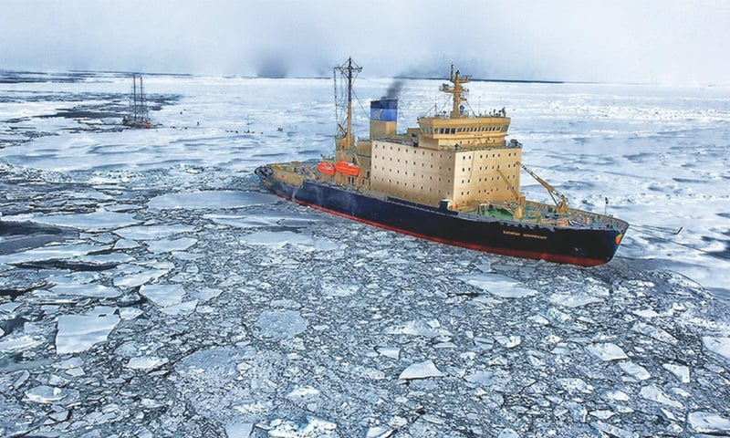 A ship makes its way through the Arctic ice