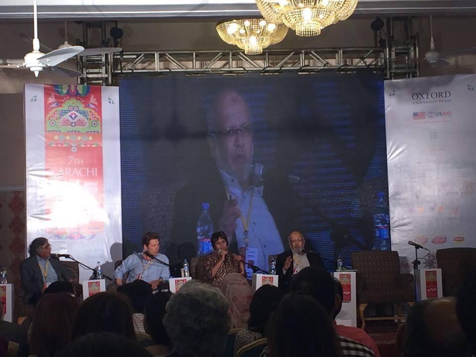 Barkha Dutt with Oliver Truc, Farhan Bokhari, Fasih Ahmed and Ghazi Salahuddin. Photo: Dawn
