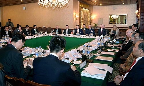 Delegates from Pakistan, Afghanistan, China and United States attend third round of a meeting at the foreign ministry in Islamabad, Pakistan, Saturday, Feb. 6, 2016. — APP