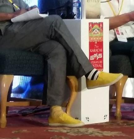 Mohammad Hanif wearing yellow kicks and mismatched socks. We love it. Photo: Dawn