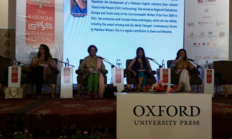 Bina Shah, Muneeza Shamsie, Uzma Aslam Khan and Kamila Shamsie. Photo: Dawn