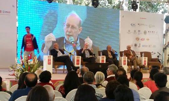Mirza Waheed, Barkha Dutt, Jean-Luc Racine and Rafique Kathwari. Photo: Dawn