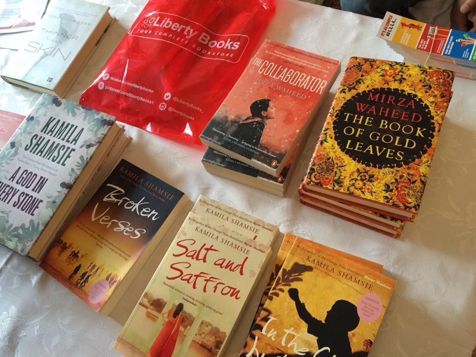 Books from the writers at the South Asian English fiction session. Photo: Dawn