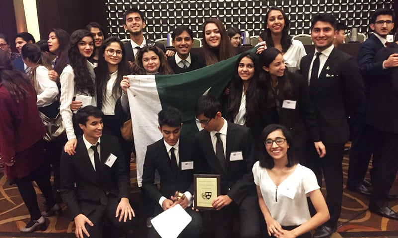 The team after winning Best International Delegation. —Photo by author