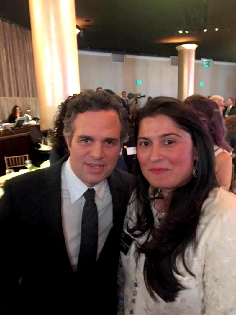 Sharmeen was spotted hobnobbing with Hollywood bigwigs like Mark Ruffalo at the Oscar nominees luncheon earlier this month - Photo courtesy Sharmeen's official Facebook page