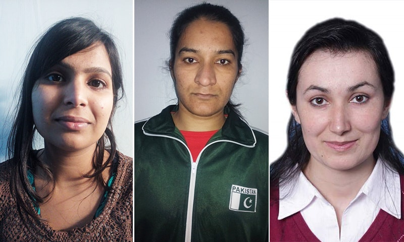Sofia Javed (l), Rukhsana Parveen (c), and Khoushleem Bano (r) will become the first female boxers from Pakistan to feature in an international event. — Photos courtesy PBF