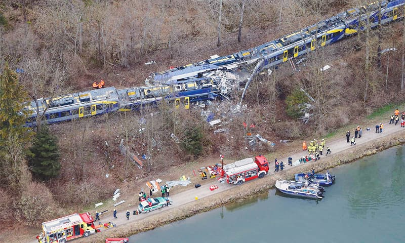 Bad Aibling (Germany): An aerial view of rescue teams at the site where two trains collided head-on on Tuesday.—AP