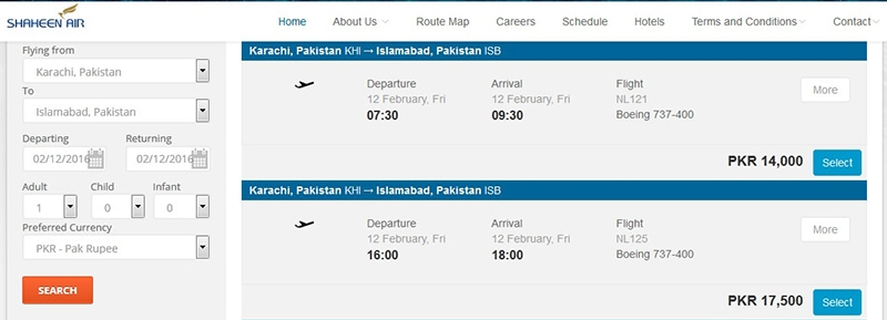 Fares for Shaheen Air's Karachi-Islamabad one-way flight start at Rs14,000. — Courtesy Shaheen Air website.