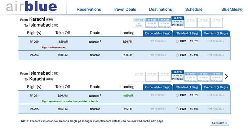 Fares For Airblue S Karachi Abad One Way Flight Start At Rs13 828
