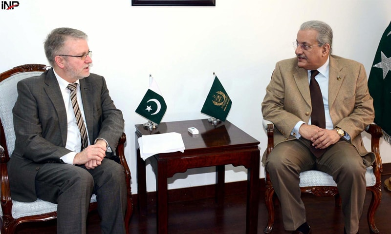 ISLAMABAD: Senate Chairman Mian Raza Rabbani in a meeting with Michael Gahler, former chief of the European Union Election Observation Mission, at Parliament House on Wednesday.—INP
