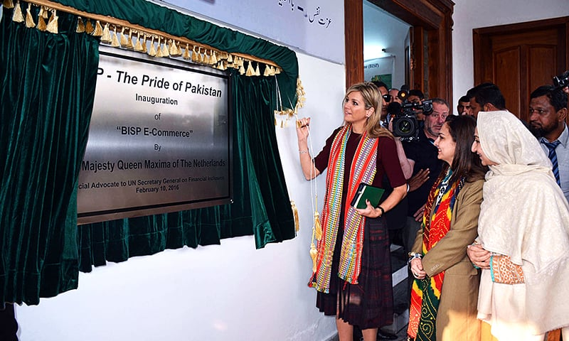 "RAWALPINDI: UN Secretary General's Special Advocate for Inclusive Finance for Development, Queen Maxima of Netherlands along with MOS and Chairperson BISP, MNA Marvi Memon inaugurate an initiative of BISP ""BISP E-Commerce"" during her visit to BISP office.—APP"