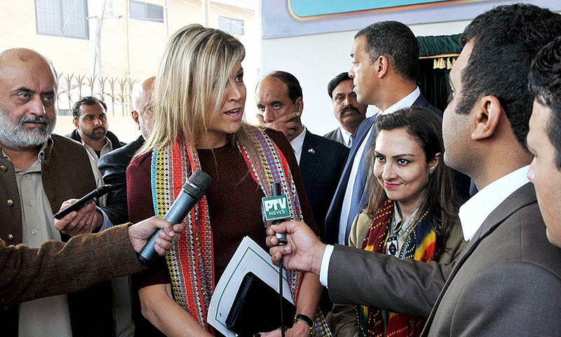 Queen Maxima of Netherlands along with MOS and Chairperson BISP, MNA Marvi Memon talking to media persons during her visit to BISP office.—APP