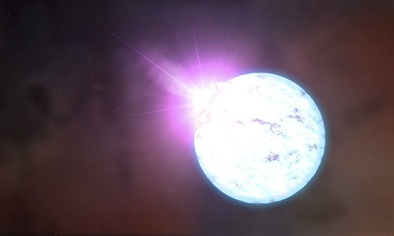 An artist's rendering of an outburst on an ultra-magnetic neutron star, also called a magnetar is shown in this handout provided by NASA.─ Reuters